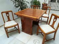 Mesa y 4 sillas, roble macizo, restauradas, art deco