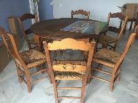 Mesa salon madera + 6 sillas
