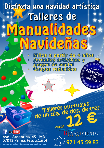 Actividades para niños Navidad 2017 Palma de MallorcaTALLERES