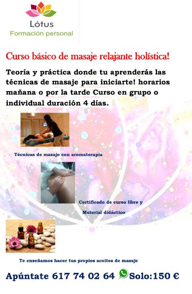 Curso básico de masaje relajante holística! Teoría