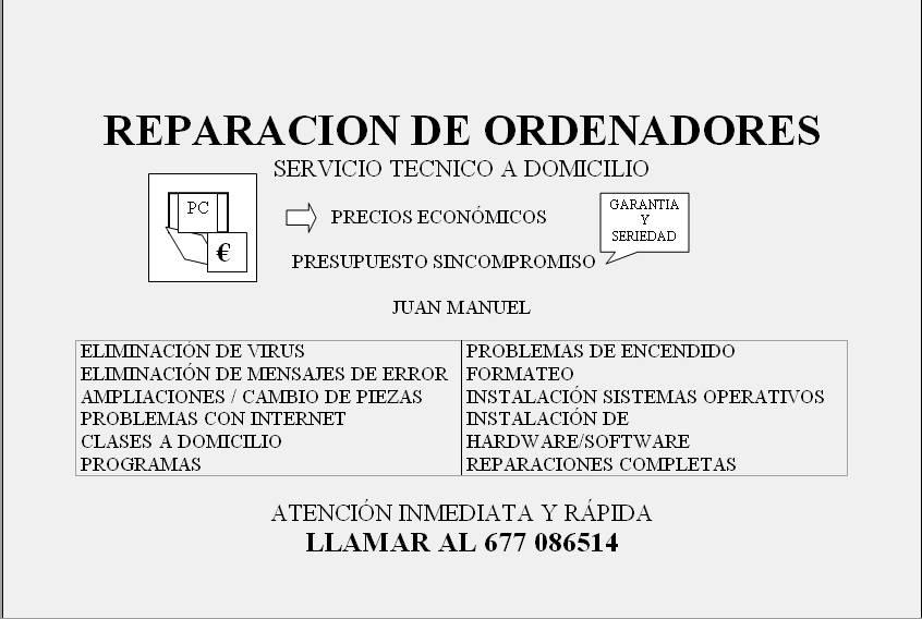 INFORMATICO, REPARACION DE ORDENADORES