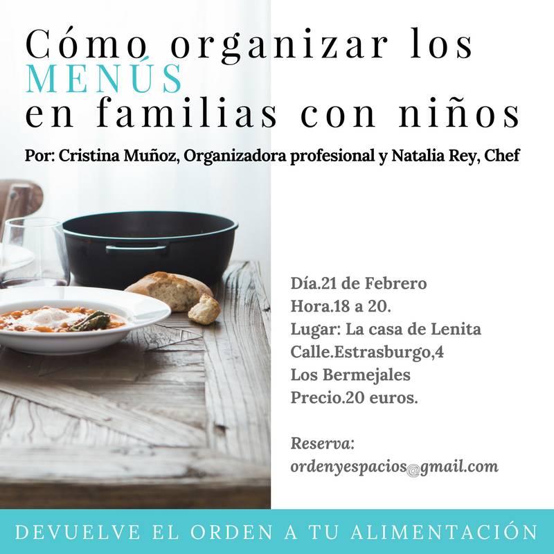 Taller presencial Cómo organizar los Menús en familias con niño  - Foto 1