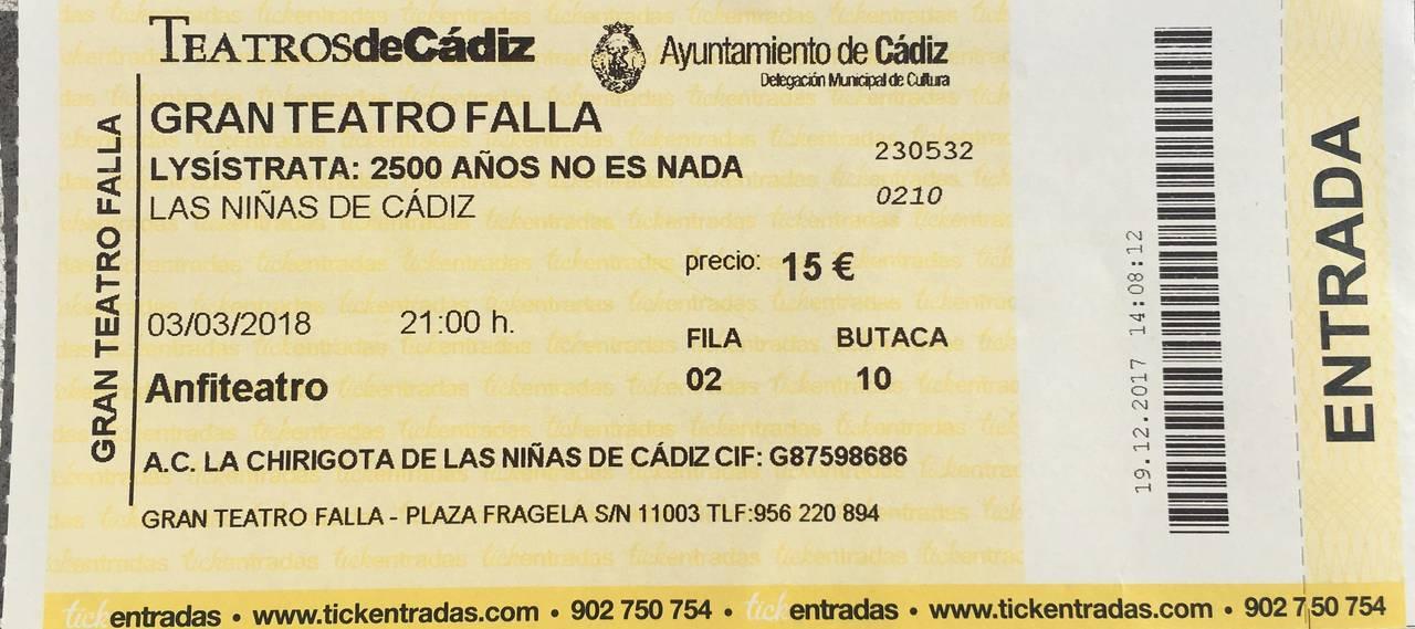 Entradas Falla 3/3/18 chirigota las niñas de cadiz  - Foto 1
