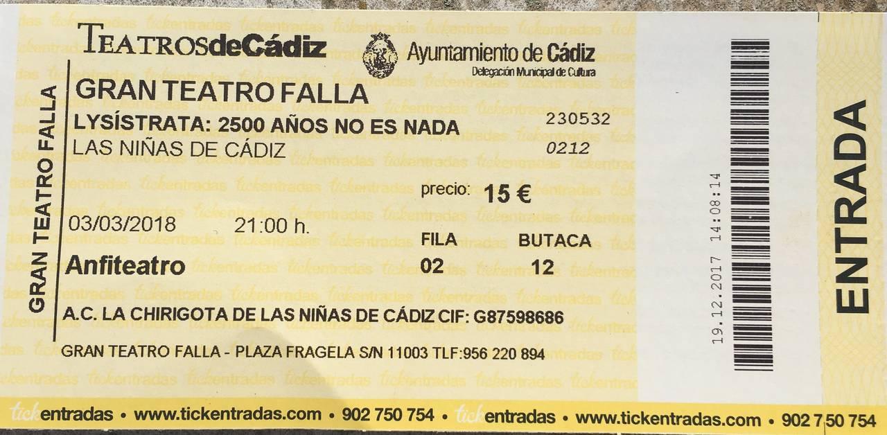 Entradas Falla 3/3/18 chirigota las niñas de cadiz  - Foto 2