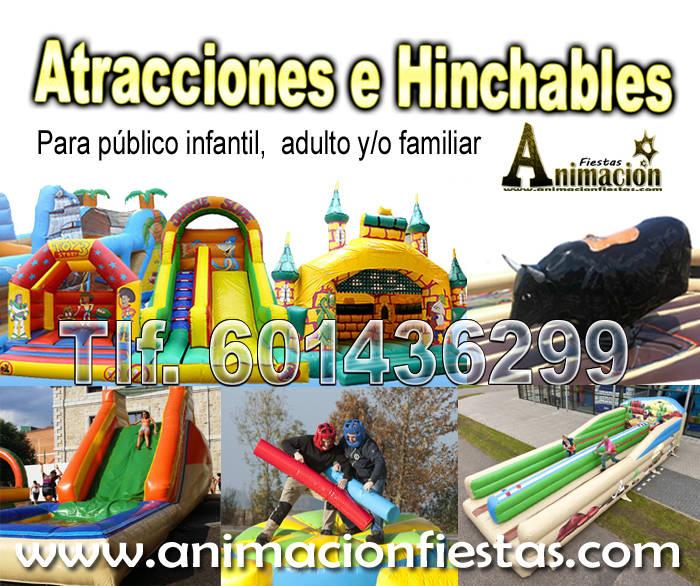 hinchables, fiesta de la espuma, toro mecanico, atracciones  - Foto 1