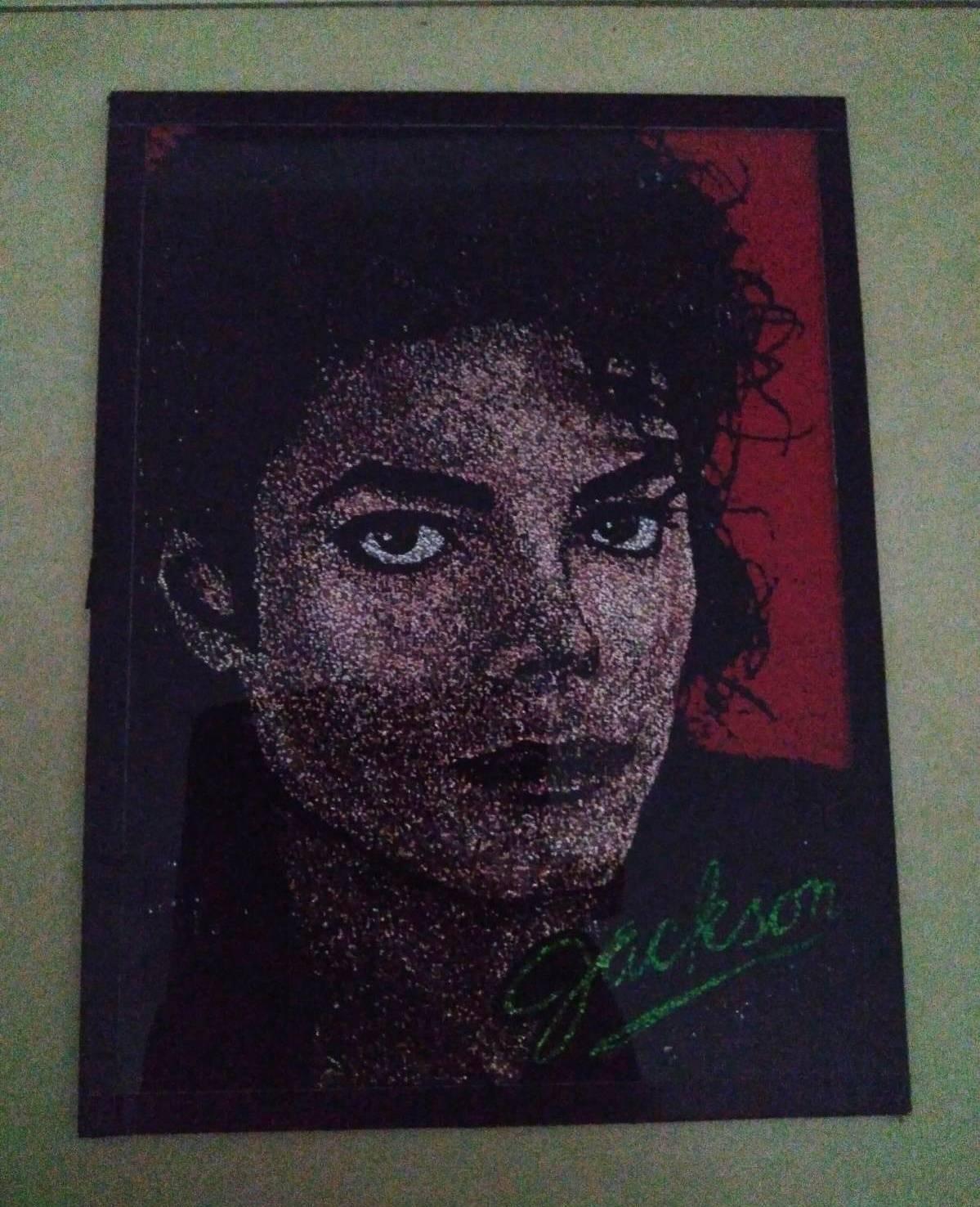 Cuadro de cristal retrato Michael Jackson con fondo rojo