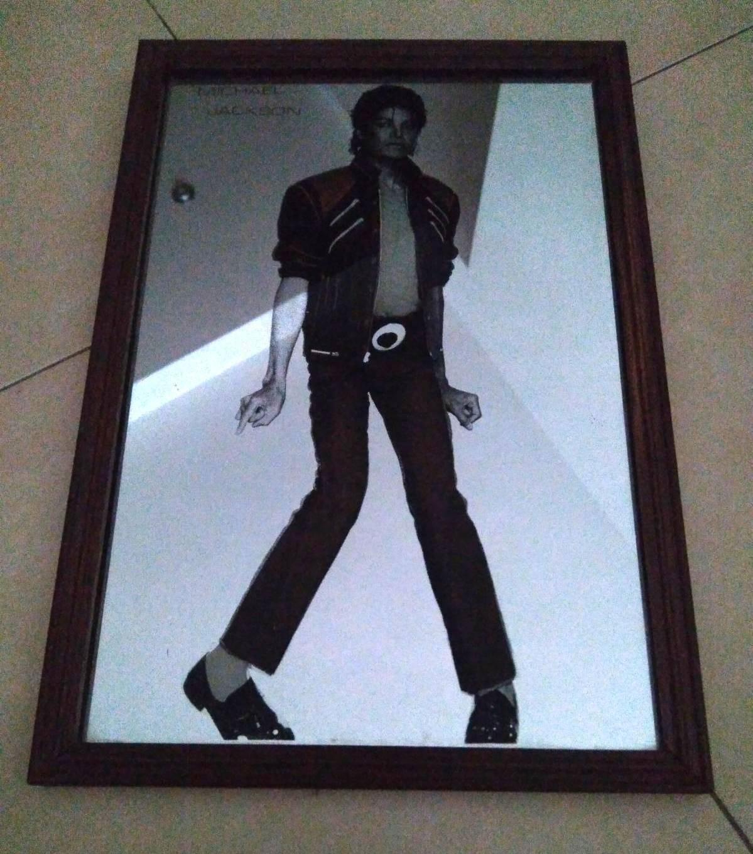 Cuadro espejo Thriller Michael Jackson con marco de madera