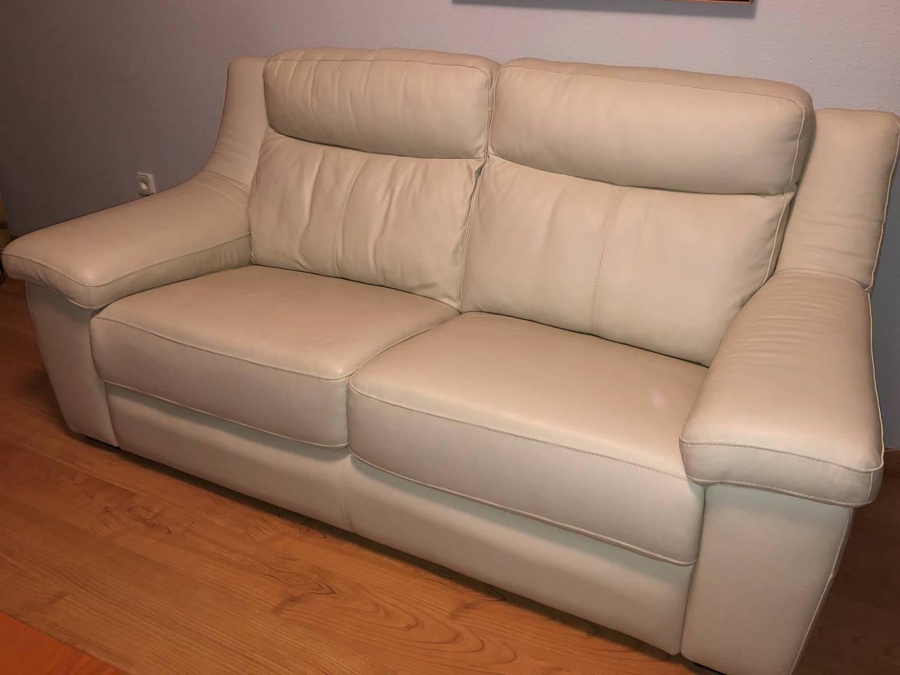 Sofa de piel, color marfil  - Foto 1